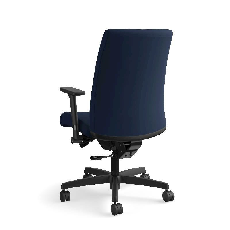 HON Ignition Mid-Back Task Chair | Height- and Width-Adjustable Arms | Hard Casters | Upholstered Back | Navy Seat Fabric | Black Frame | Standard Base. Picture 10