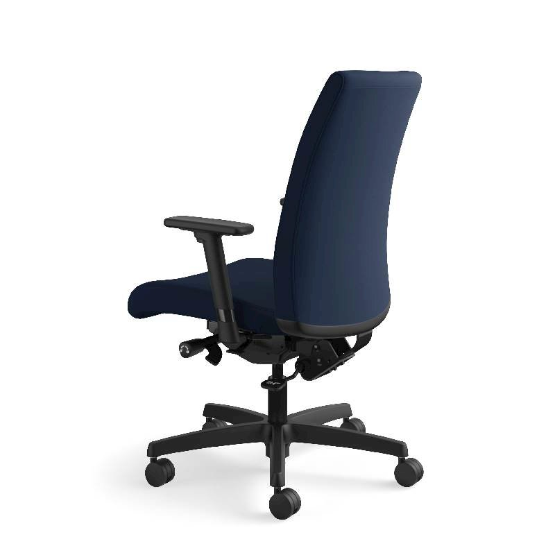 HON Ignition Mid-Back Task Chair | Height- and Width-Adjustable Arms | Hard Casters | Upholstered Back | Navy Seat Fabric | Black Frame | Standard Base. Picture 11