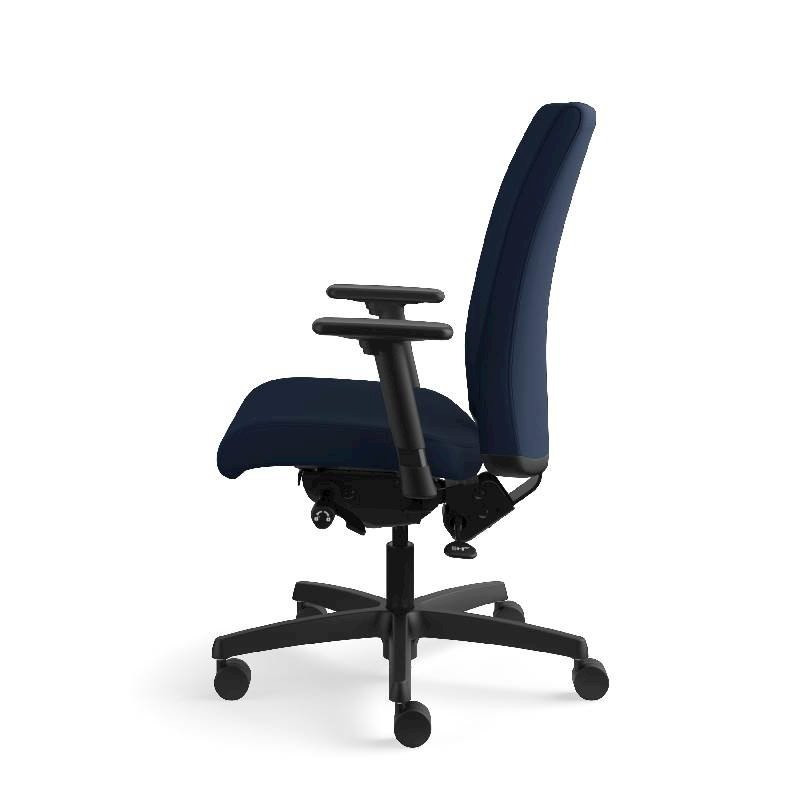 HON Ignition Mid-Back Task Chair | Height- and Width-Adjustable Arms | Hard Casters | Upholstered Back | Navy Seat Fabric | Black Frame | Standard Base. Picture 12