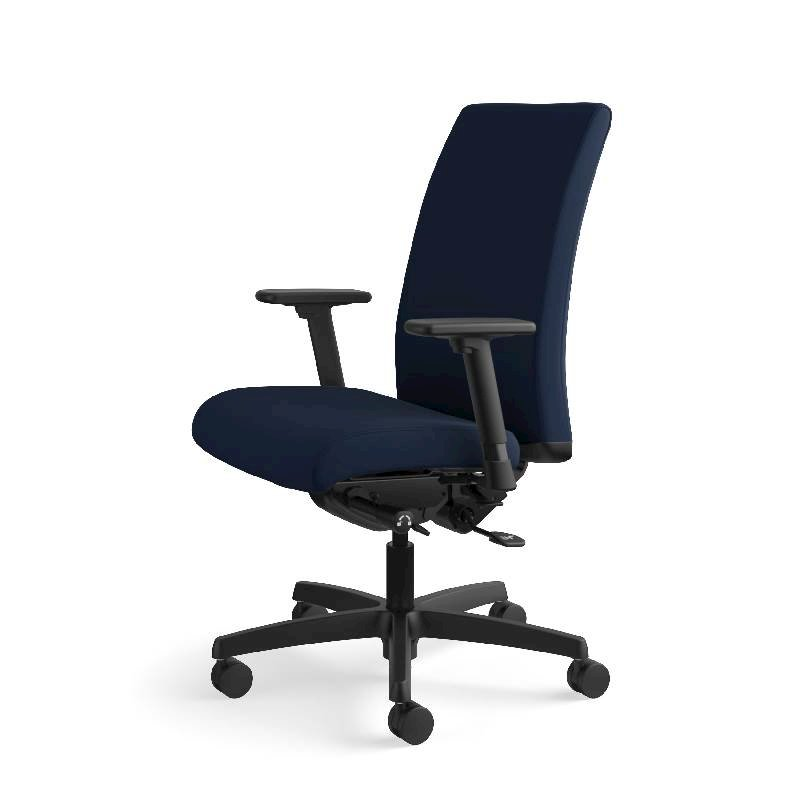 HON Ignition Mid-Back Task Chair | Height- and Width-Adjustable Arms | Hard Casters | Upholstered Back | Navy Seat Fabric | Black Frame | Standard Base. Picture 13