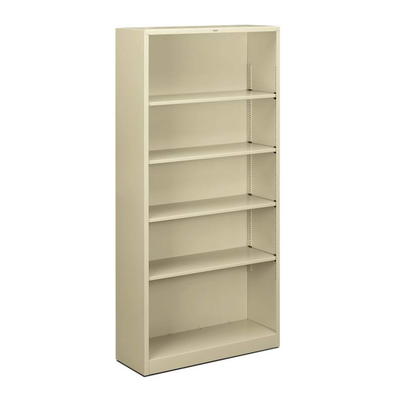 """HON Brigade Steel Bookcase   5 Shelves   34-1/2""""W x 12-5/8""""D x 71""""H   Putty Finish. Picture 1"""