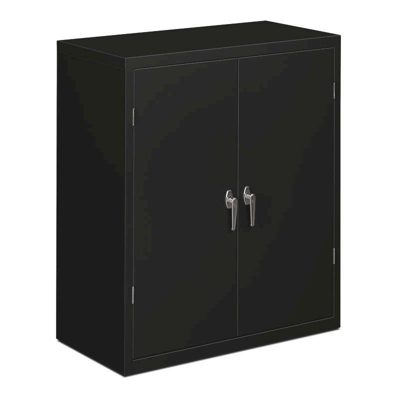 "HON Brigade Series Storage Cabinet | 2 Adjustable Shelves | 36""W x 18-1/8""D x 41-3/4""H | Black Finish. Picture 1"