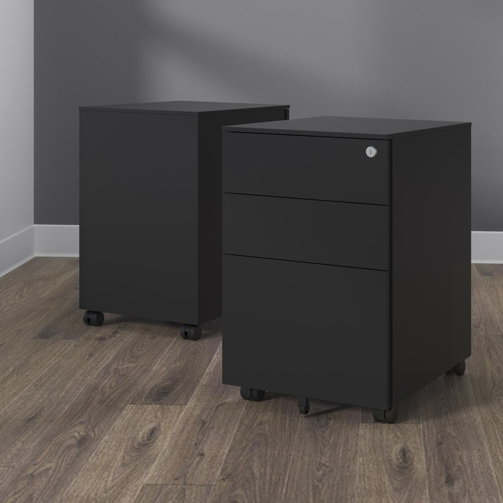 Commercial-Grade Mobile Metal Pedestal, Filing Cabinet, Charcoal. Picture 11
