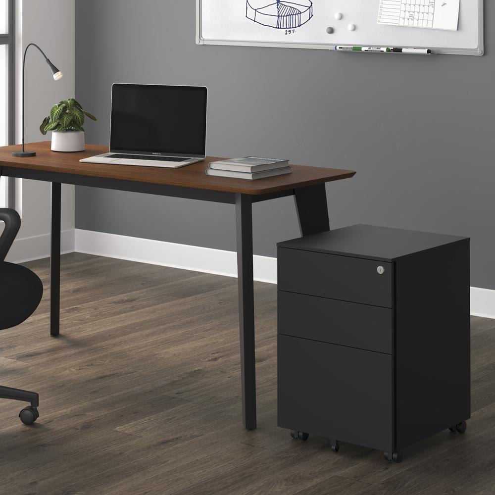 Commercial-Grade Mobile Metal Pedestal, Filing Cabinet, Charcoal. Picture 13