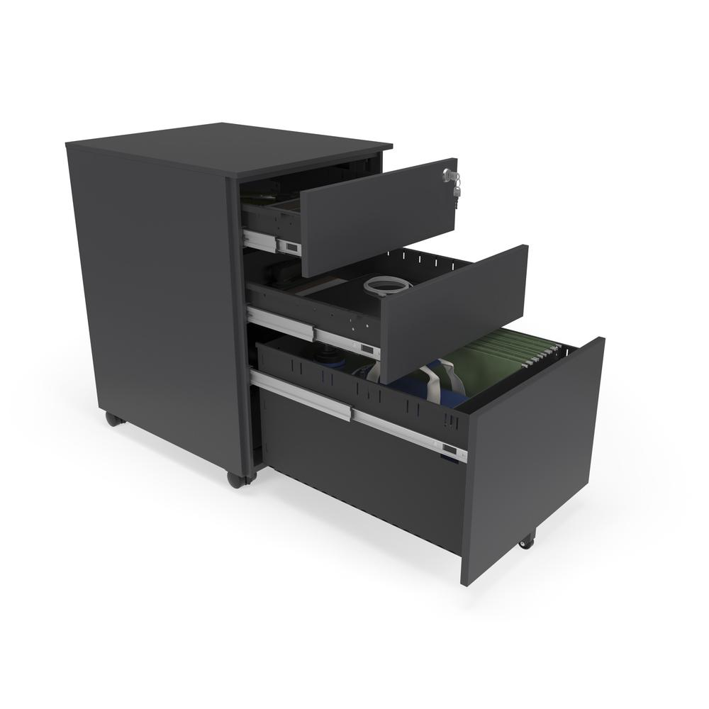 Commercial-Grade Mobile Metal Pedestal, Filing Cabinet, Charcoal. Picture 6