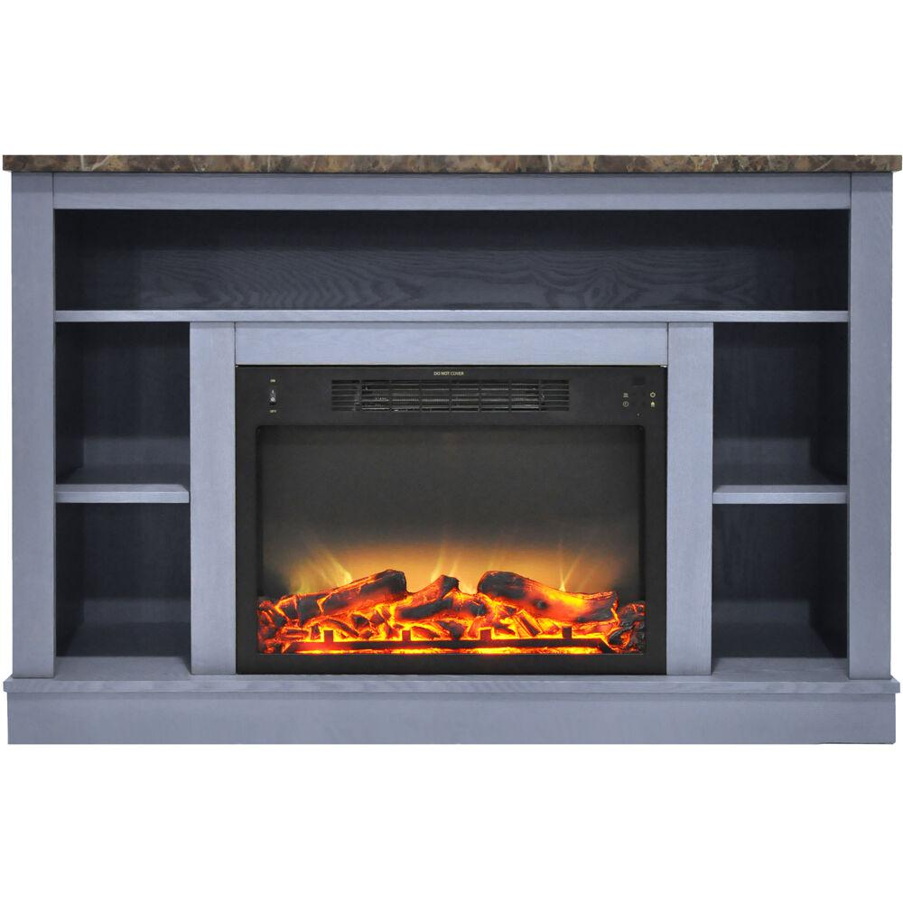 """47.2""""x15.7""""x32.5"""" Seville Fireplace Mantel with Logs and Grate Insert"""