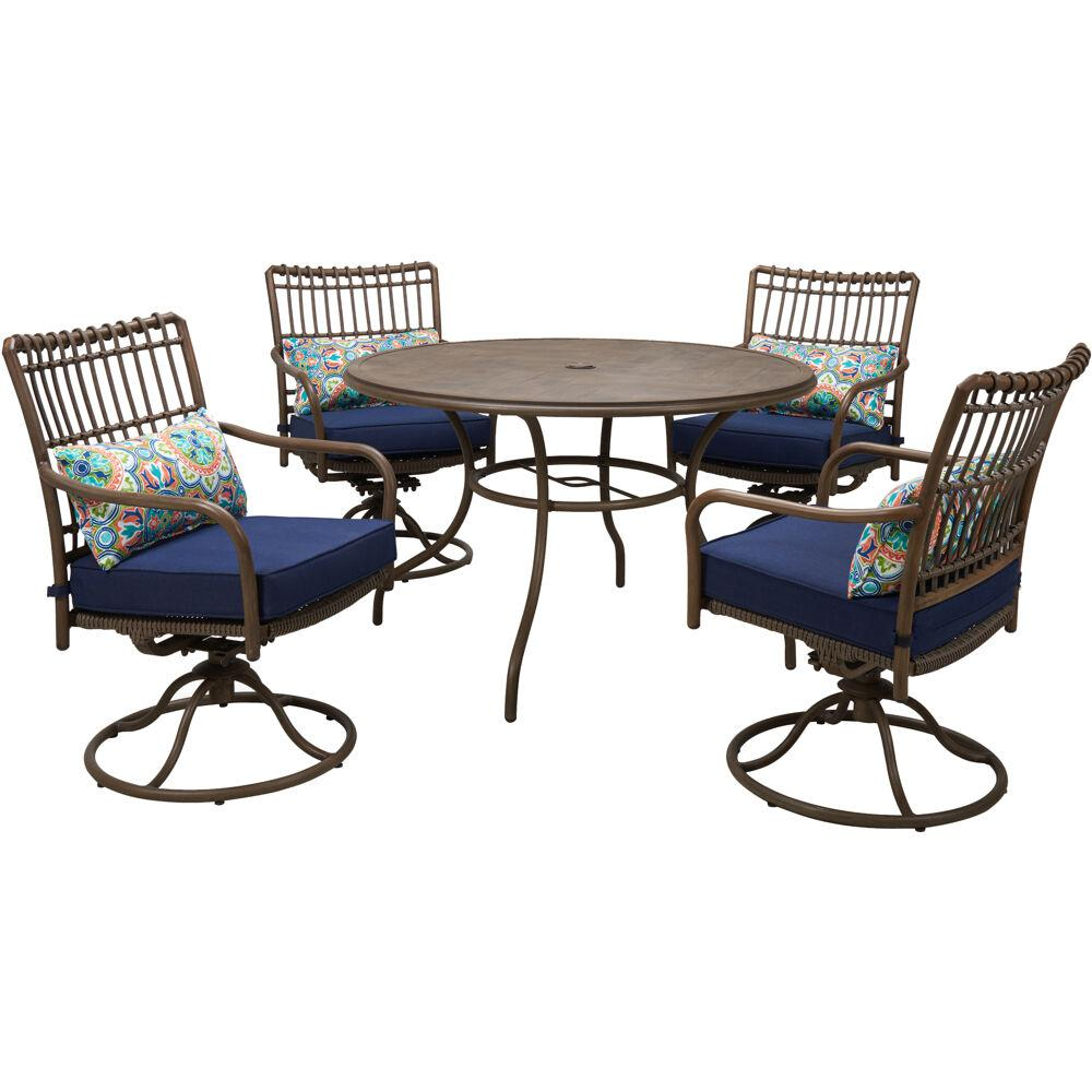 """Summerland5pc: 4 Swivel Dining Chairs and 48"""" Round Table"""