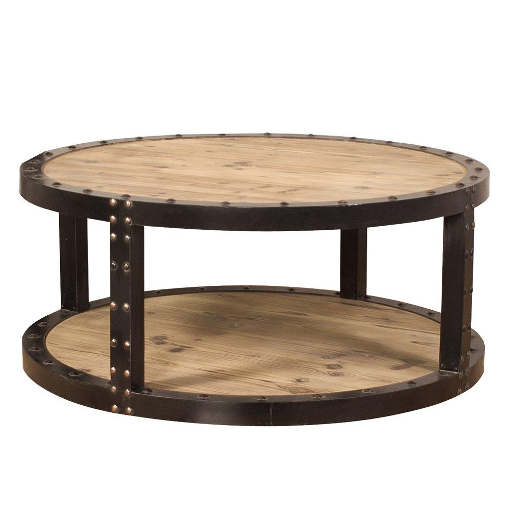 Aged Wood Black Iron Coffee Table