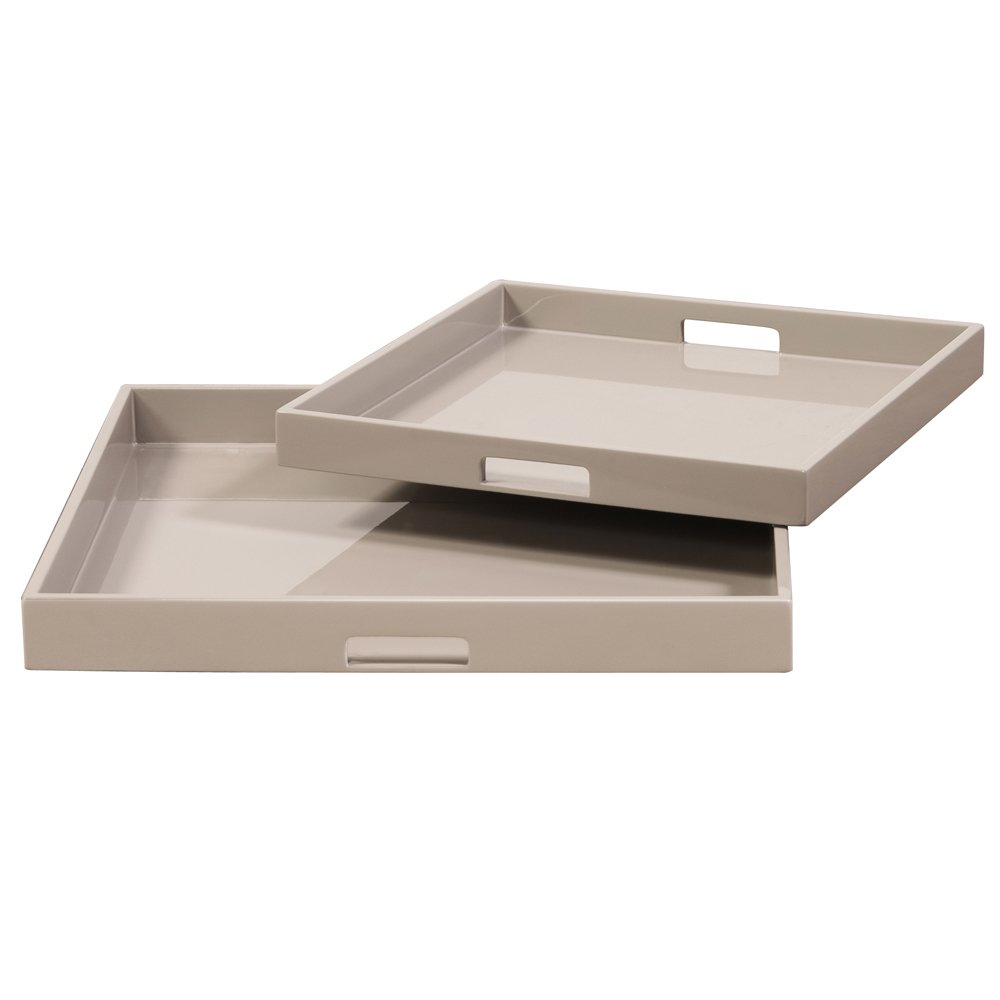 Taupe Lacquer Square Wood Tray Set