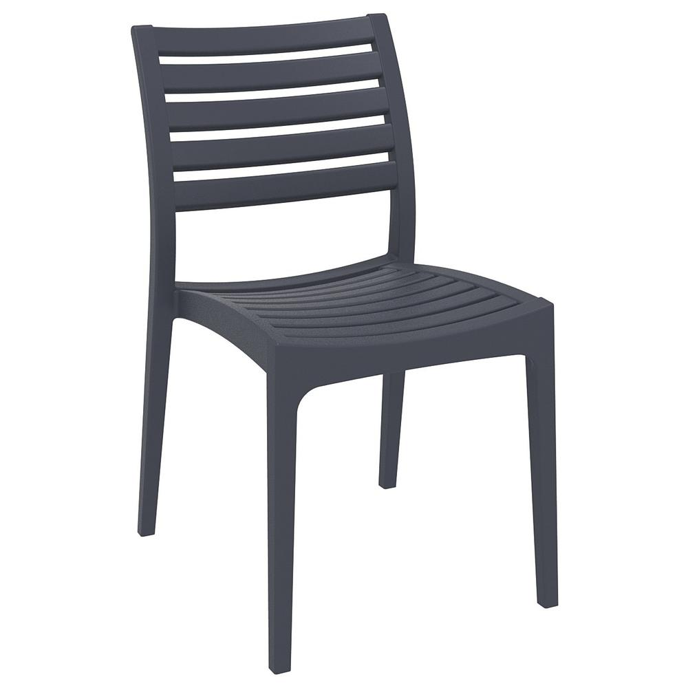 Ares Outdoor Dining Chair Dark Gray Set of 2. Picture 1