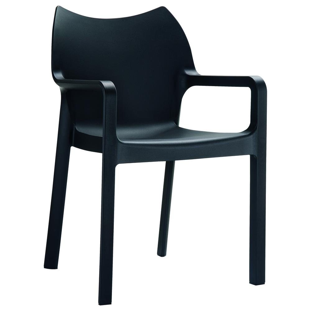 Diva Resin Outdoor Dining Arm Chair Black Set of 4. Picture 1