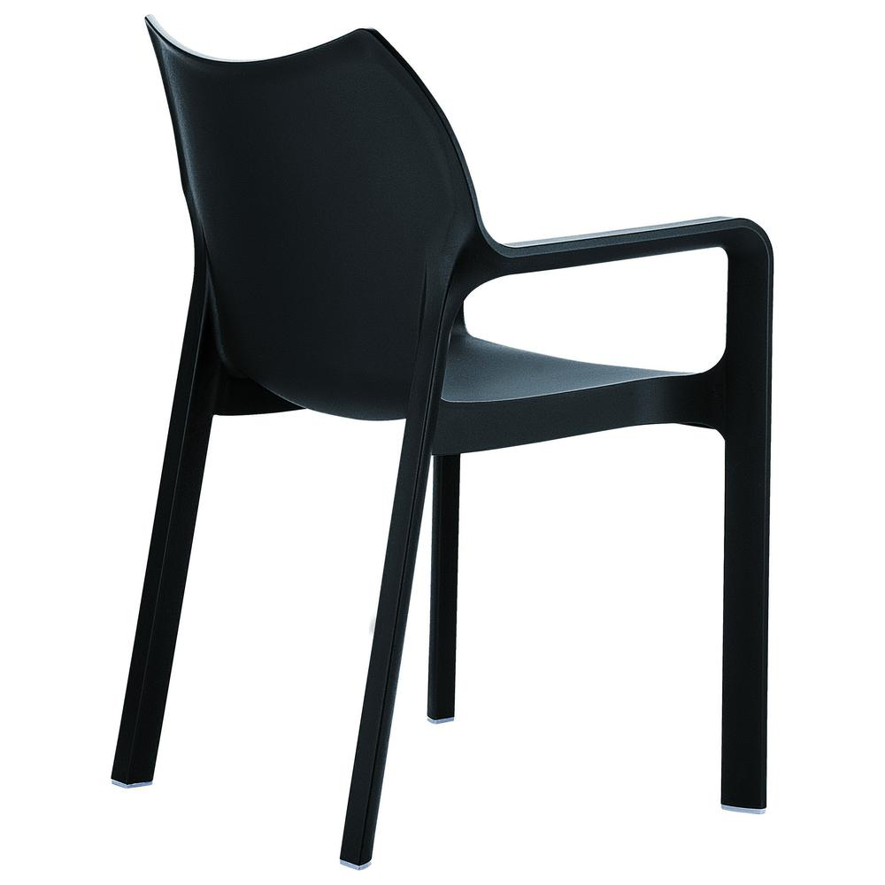 Diva Resin Outdoor Dining Arm Chair Black Set of 4. Picture 2