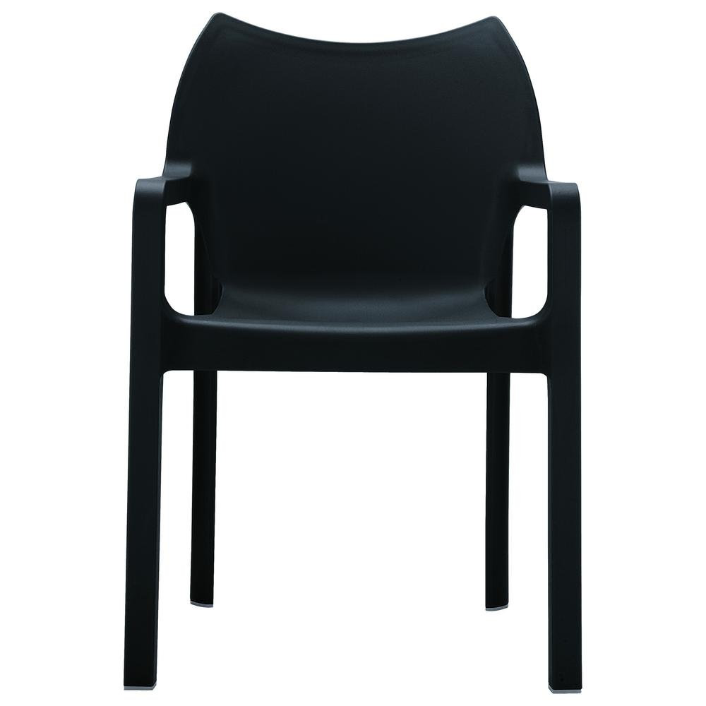 Diva Resin Outdoor Dining Arm Chair Black Set of 4. Picture 3