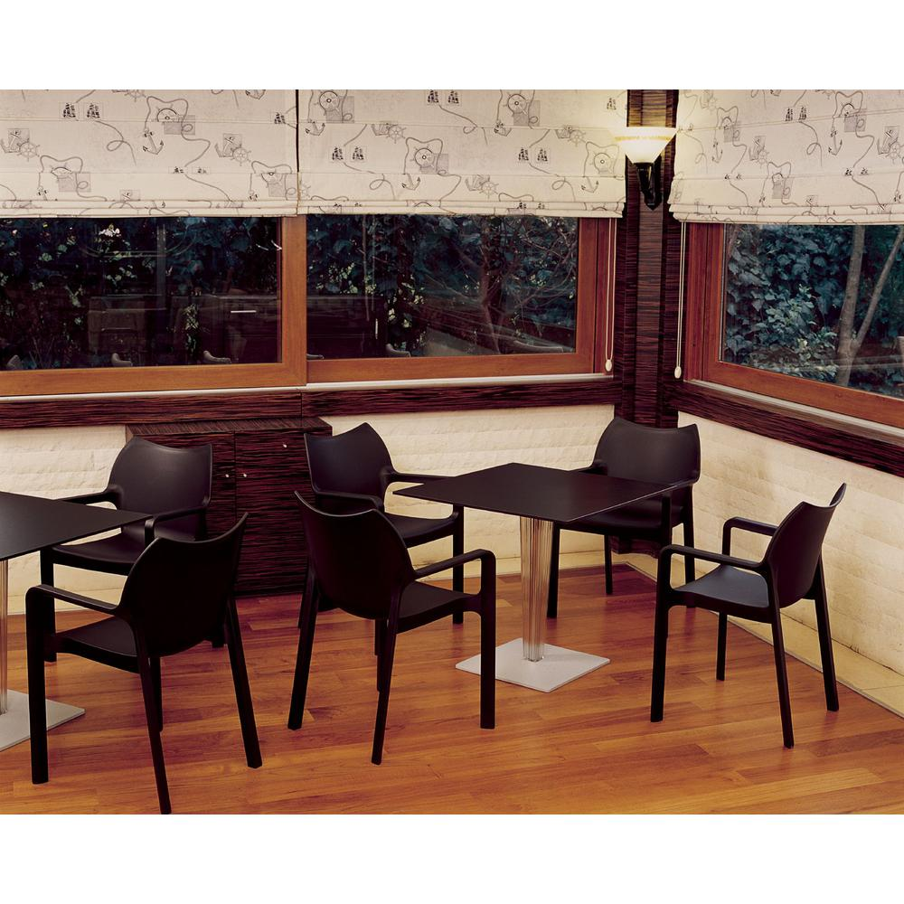 Diva Resin Outdoor Dining Arm Chair Black Set of 4. Picture 6
