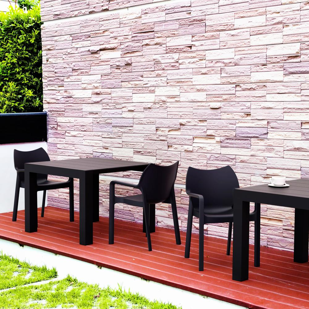 Diva Resin Outdoor Dining Arm Chair Black Set of 4. Picture 8