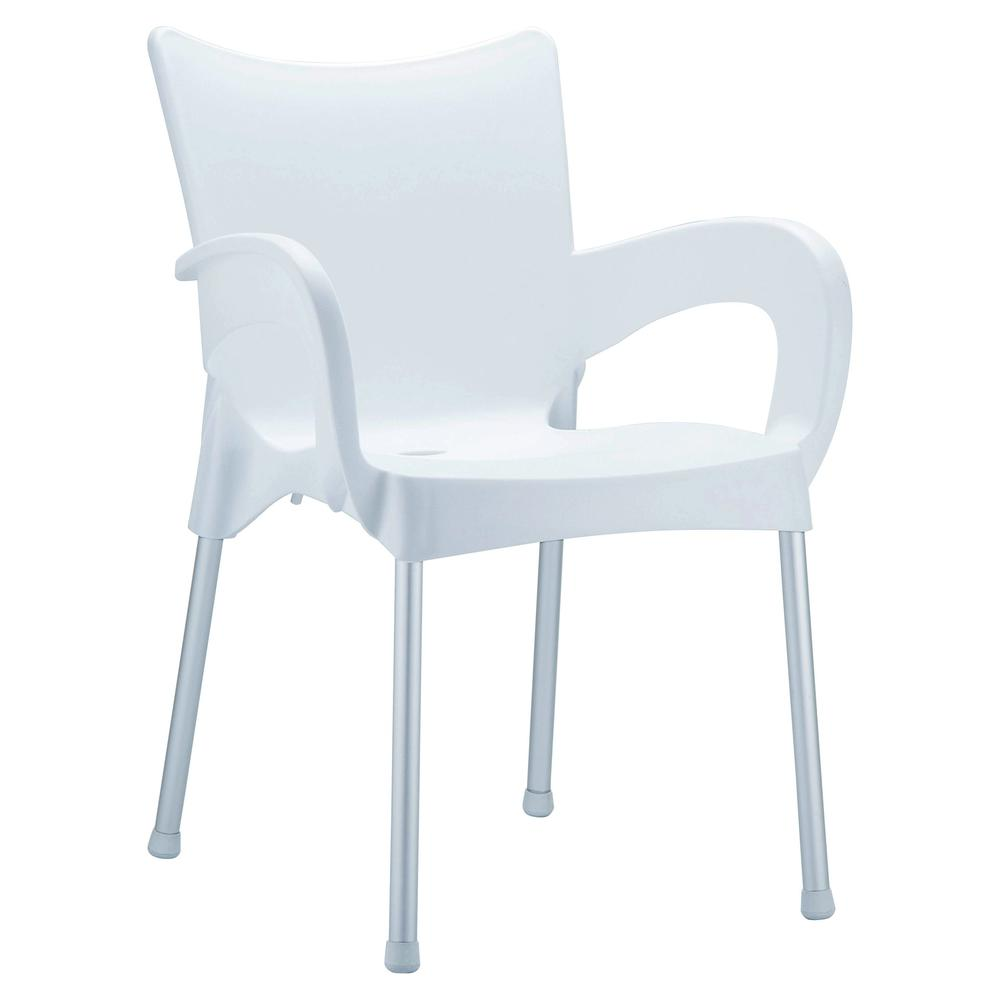 Romeo Resin Dining Arm Chair White Set of 4. Picture 1