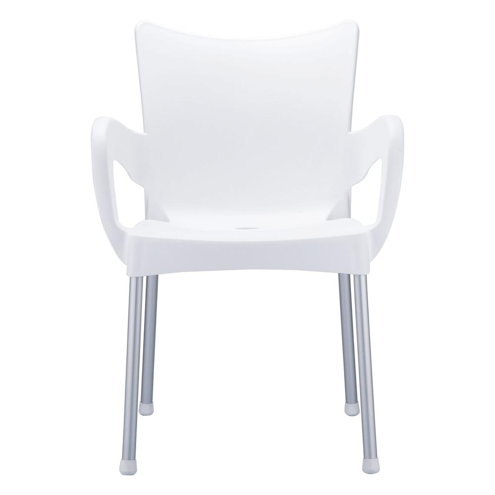 Romeo Resin Dining Arm Chair White Set of 4. Picture 2