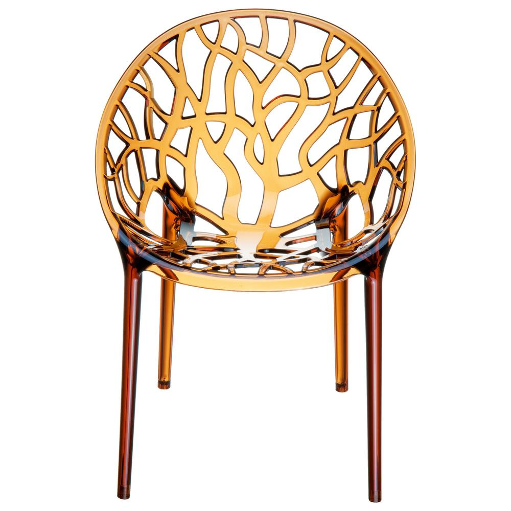 Crystal Polycarbonate Modern Dining Chair Transparent Amber Set of 2. Picture 3