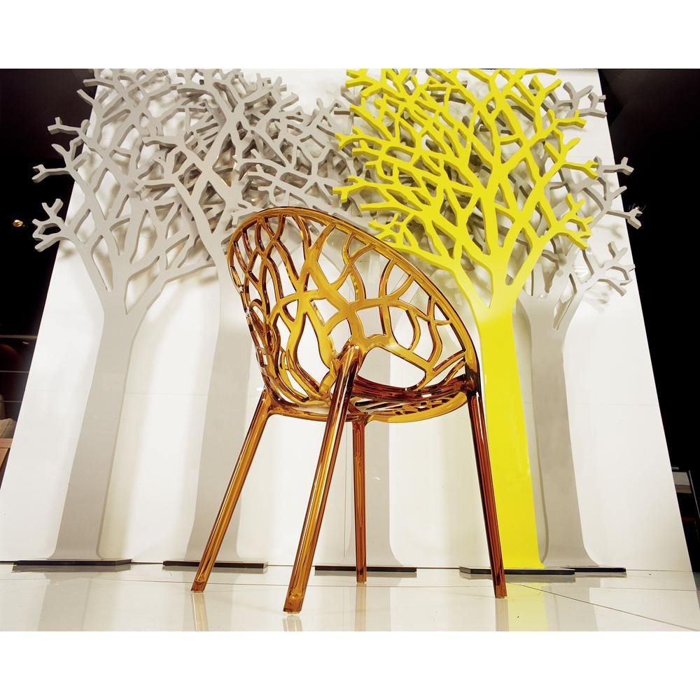 Crystal Polycarbonate Modern Dining Chair Transparent Amber Set of 2. Picture 6