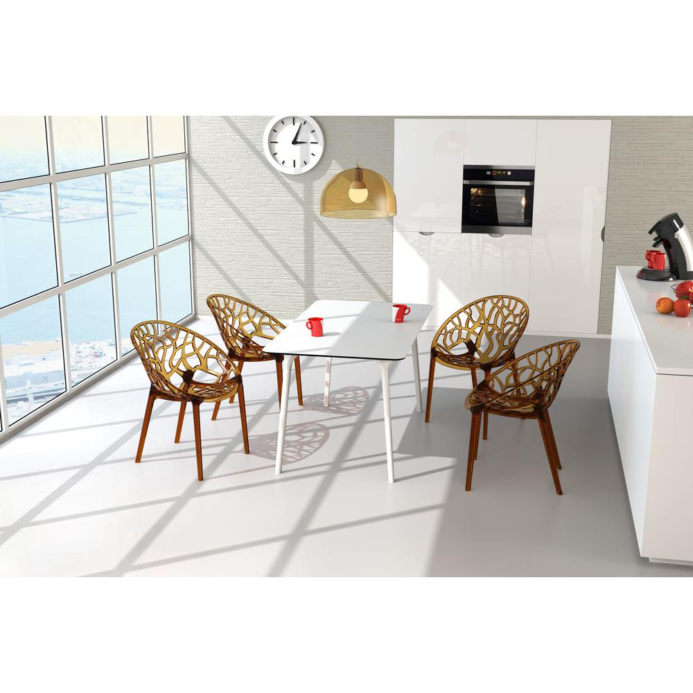 Crystal Polycarbonate Modern Dining Chair Transparent Amber Set of 2. Picture 7