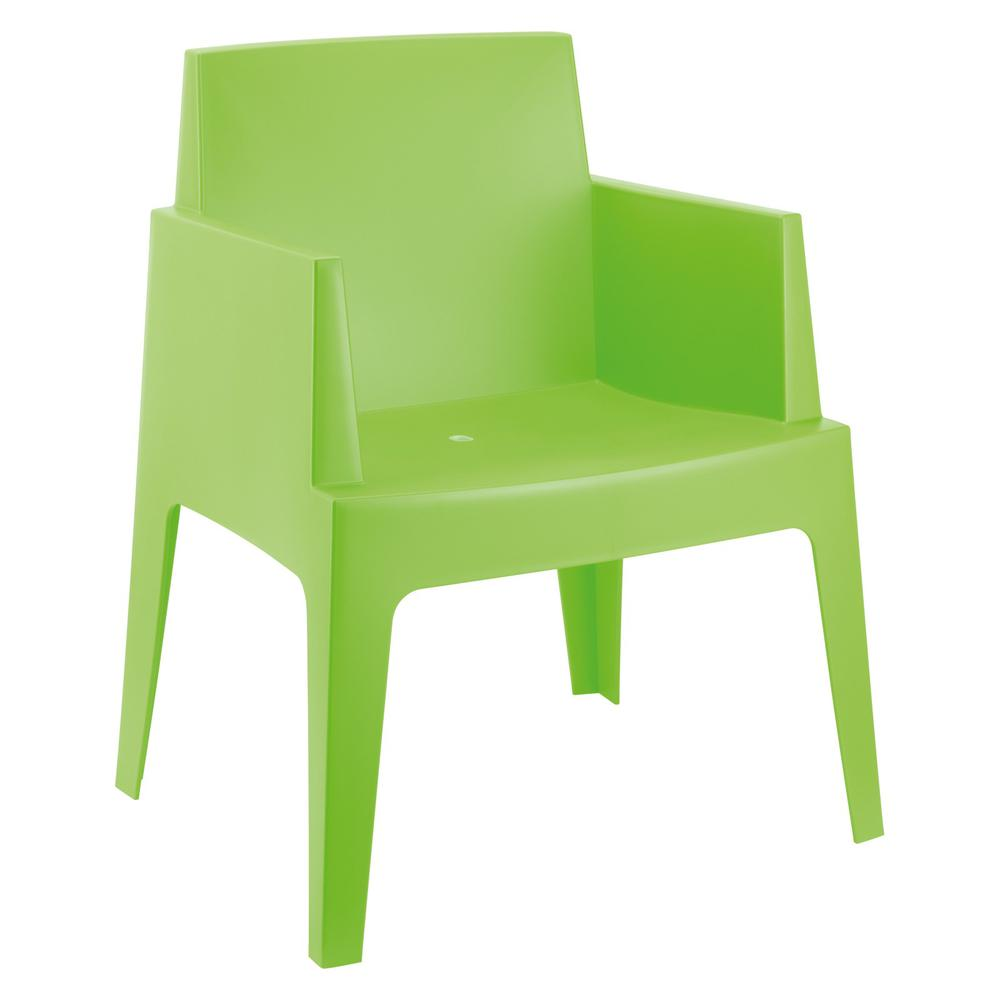 Box Resin Outdoor Dining Arm Chair Tropical Green Set Of 4