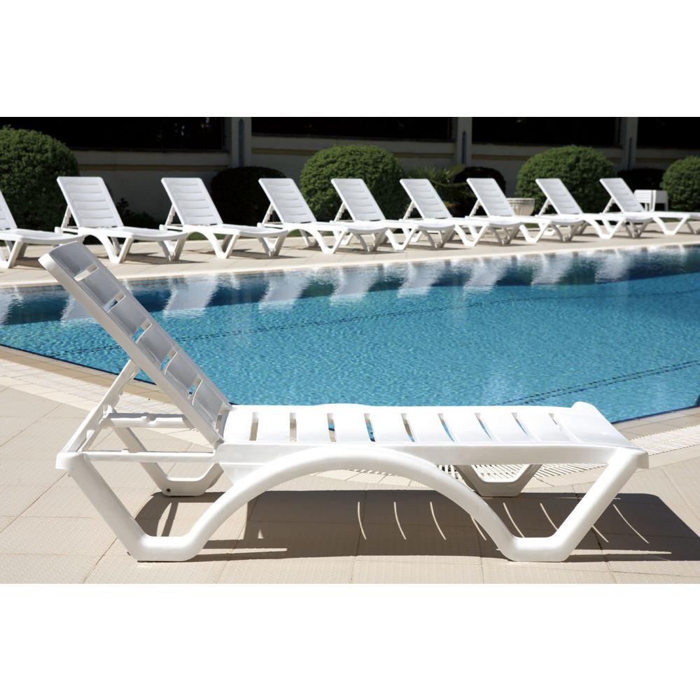 Aqua Pool Chaise Lounge White. Picture 4
