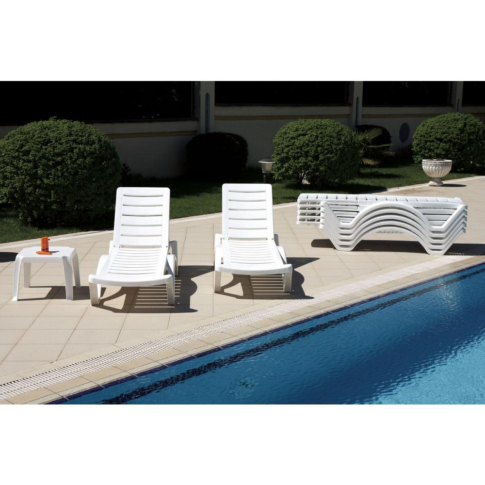 Aqua Pool Chaise Lounge White. Picture 5