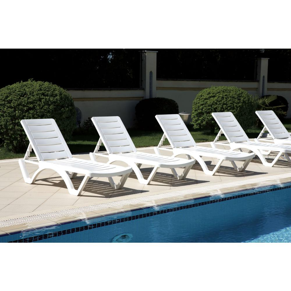 Aqua Pool Chaise Lounge White. Picture 6