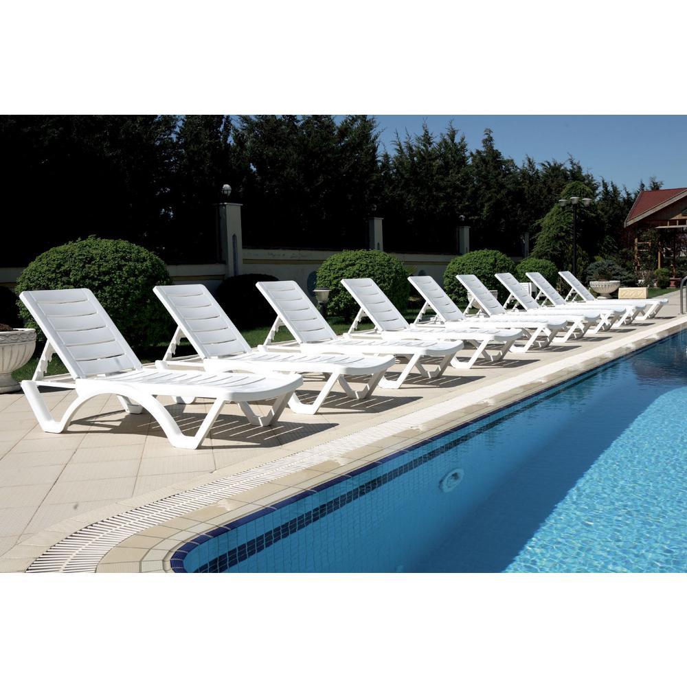 Aqua Pool Chaise Lounge White. Picture 7
