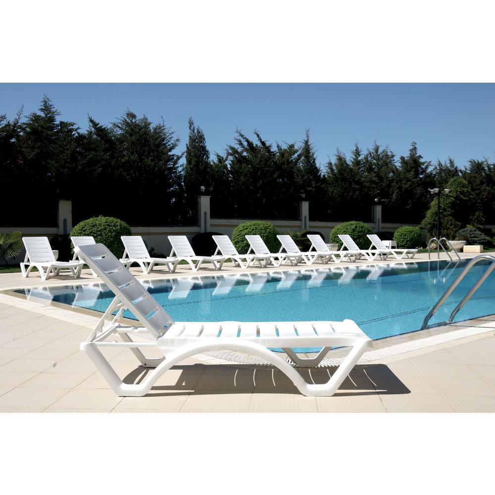 Aqua Pool Chaise Lounge White. Picture 8