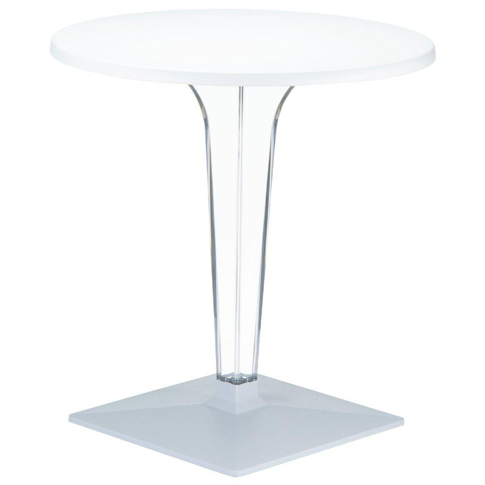 Ice Werzalit Top Round Dining Table With Transpa Base 32 Inch White
