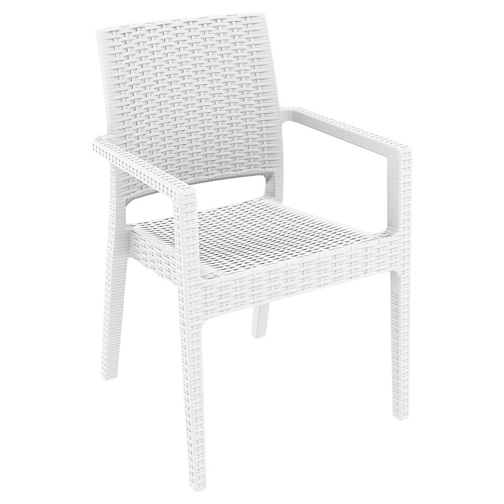 Ibiza Resin Wickerlook Dining Arm Chair White. Picture 1
