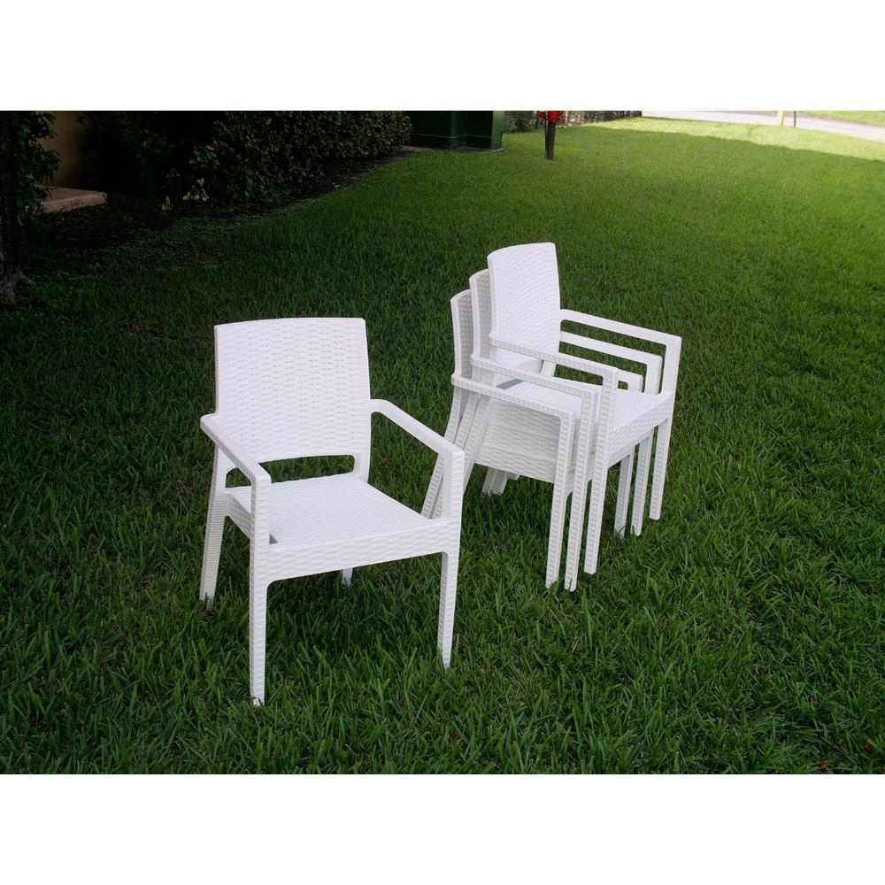 Ibiza Resin Wickerlook Dining Arm Chair White. Picture 3