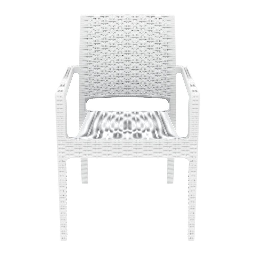 Ibiza Resin Wickerlook Dining Arm Chair White. Picture 5