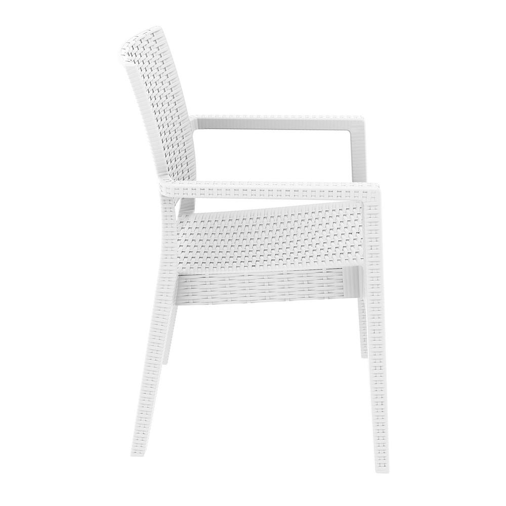 Ibiza Resin Wickerlook Dining Arm Chair White. Picture 6