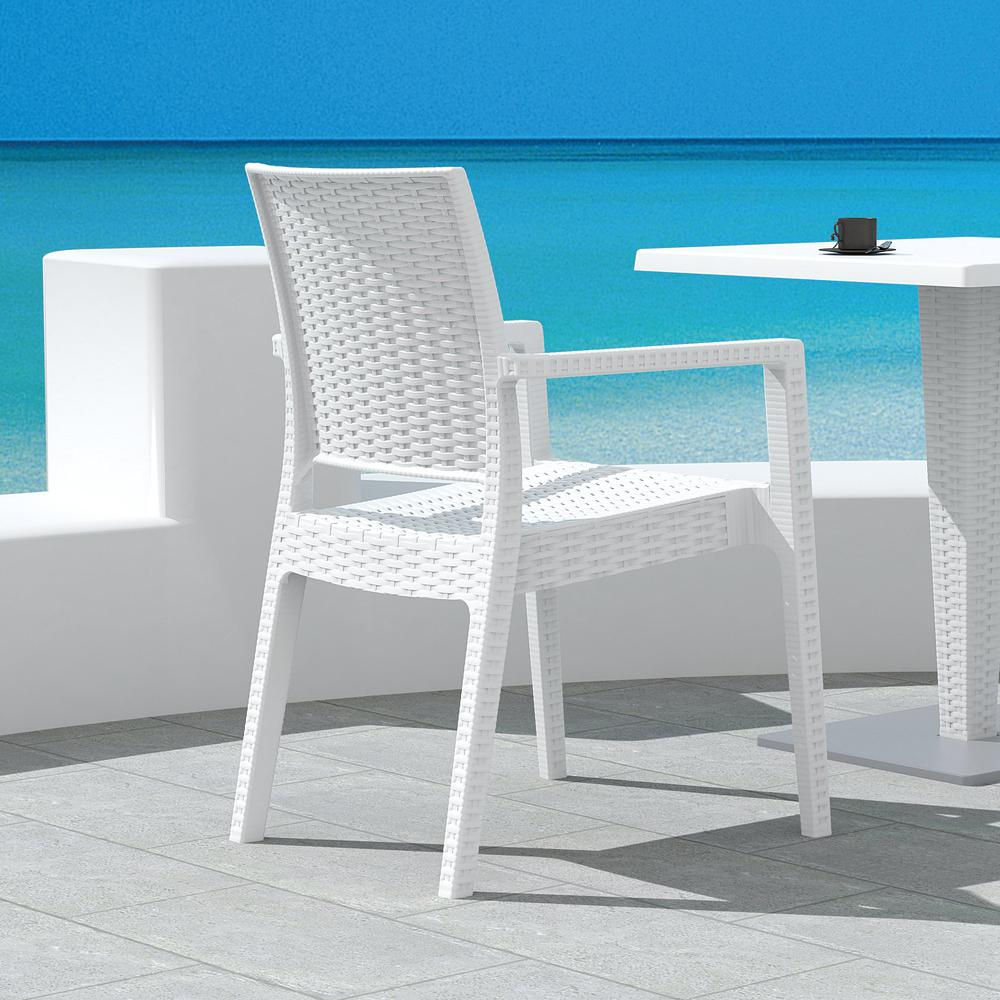 Ibiza Resin Wickerlook Dining Arm Chair White. Picture 8