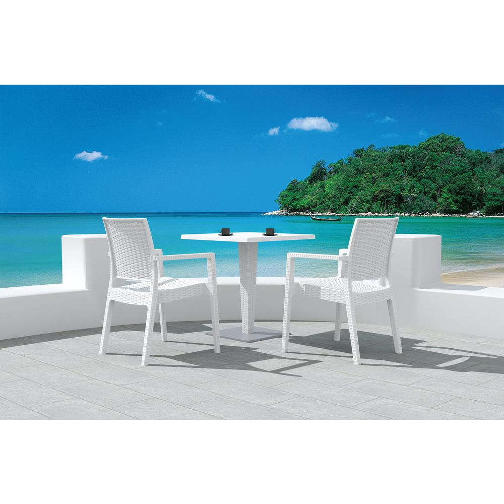 Ibiza Resin Wickerlook Dining Arm Chair White. Picture 9
