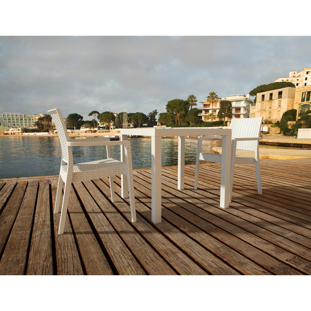 Ibiza Resin Wickerlook Dining Arm Chair White. Picture 11