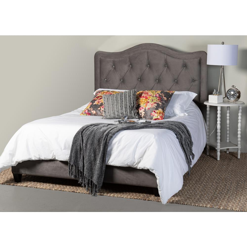 Leffler Home Adele Crystal Diamond Tufted Queen Upholstered Bed W Side Rails And Footboard In Gray