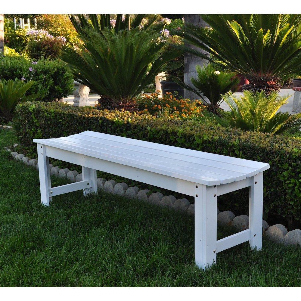 5 Ft Backless Garden Bench White