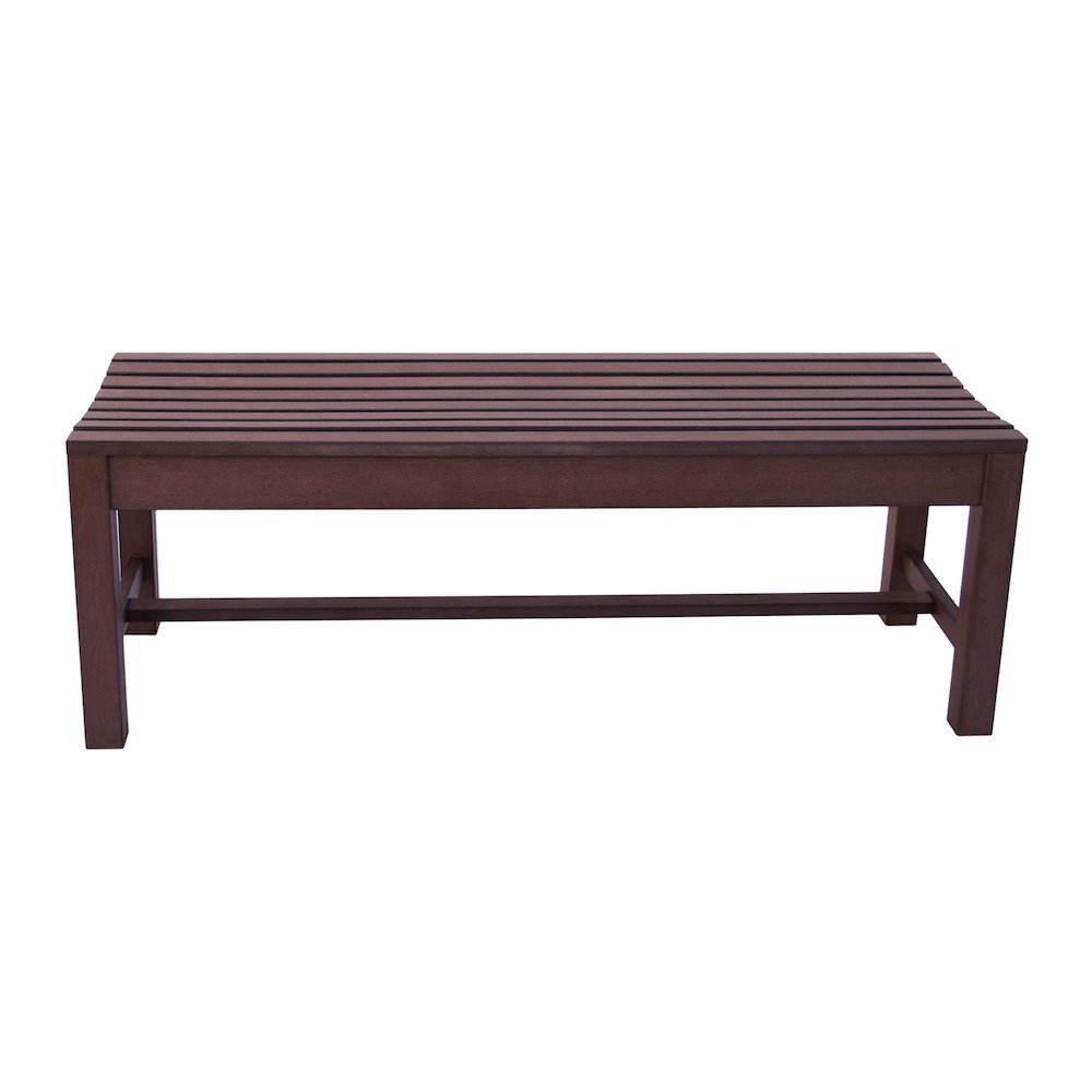 4ft Outdoor Backless Plastic Bench Chateau Brown