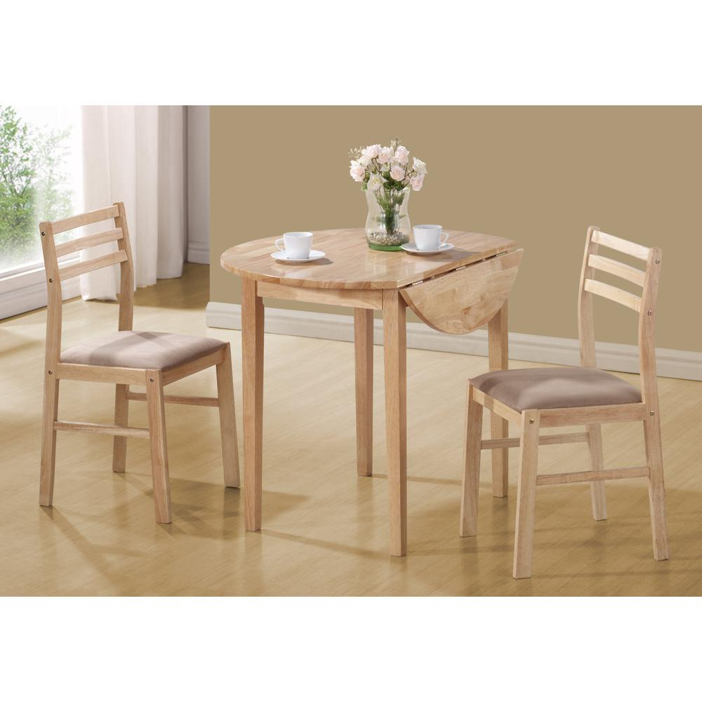 "DINING SET - 3PCS SET / NATURAL WITH A 36""DIA DROP LEAF. Picture 2"