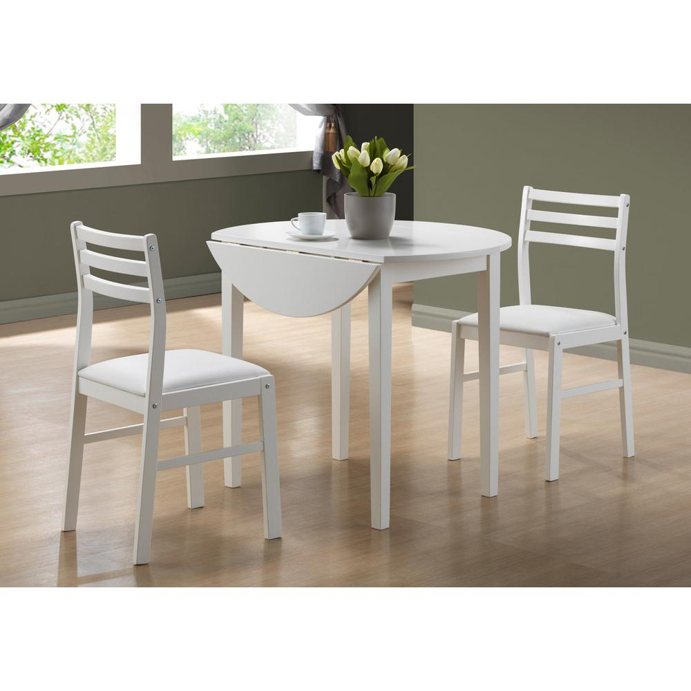 "DINING SET - 3PCS SET / WHITE WITH A 36""DIA DROP LEAF. Picture 2"