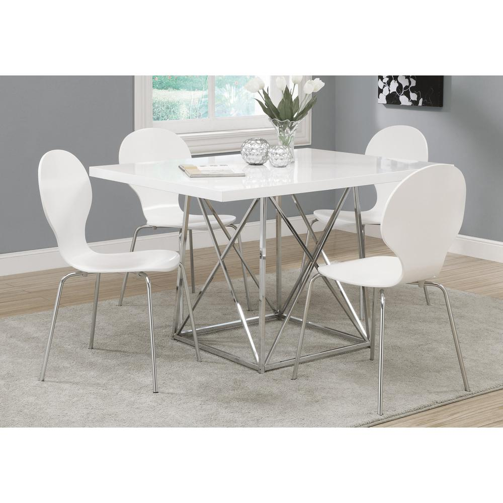 """DINING TABLE - 36""""X 48"""" / WHITE GLOSSY / CHROME METAL. Picture 2"""
