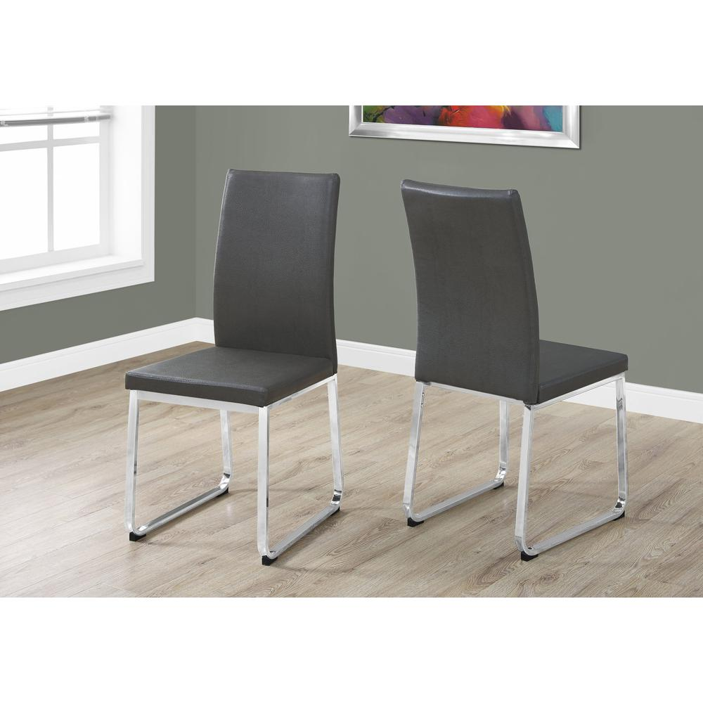 """DINING CHAIR - 2PCS / 38""""H / GREY LEATHER-LOOK / CHROME. Picture 2"""