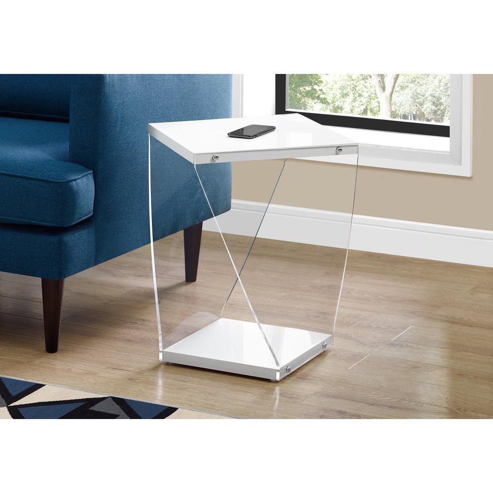 """ACCENT TABLE - 22""""H / GLOSSY WHITE / CLEAR ACRYLIC. Picture 2"""