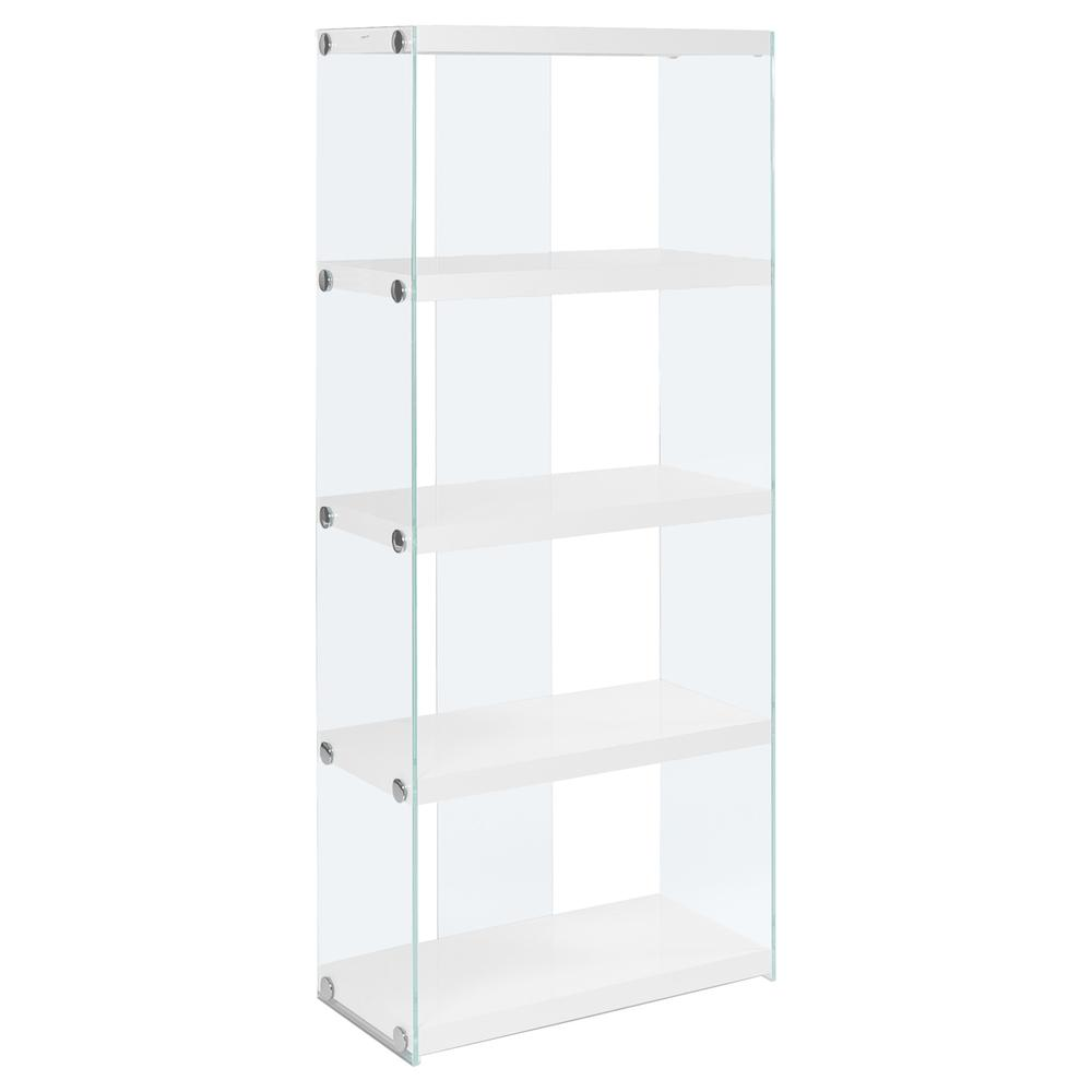 """4 SHELF BOOKCASE - 60""""H / GLOSSY WHITE WITH TEMPERED GLASS. Picture 2"""