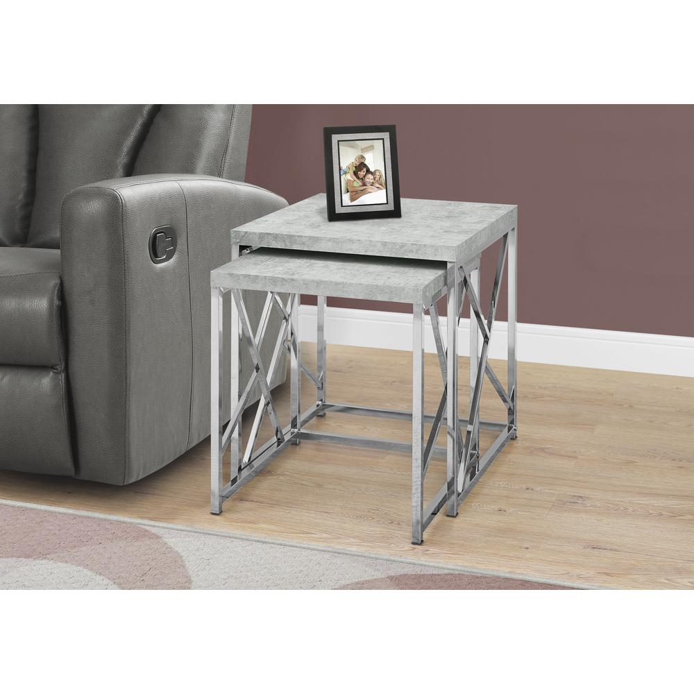 Nesting Table 2pcs Set Grey Cement With Chrome Metal
