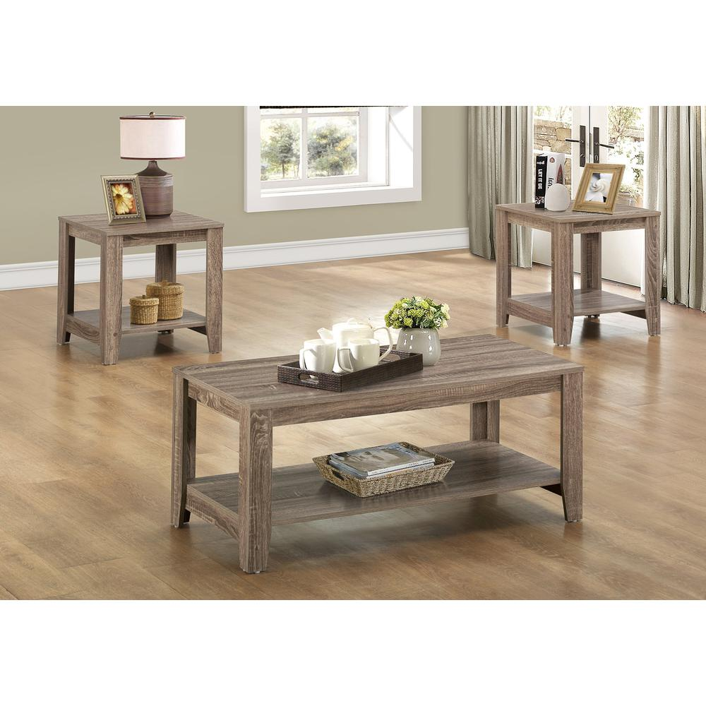 TABLE SET - 3PCS SET / DARK TAUPE. Picture 2