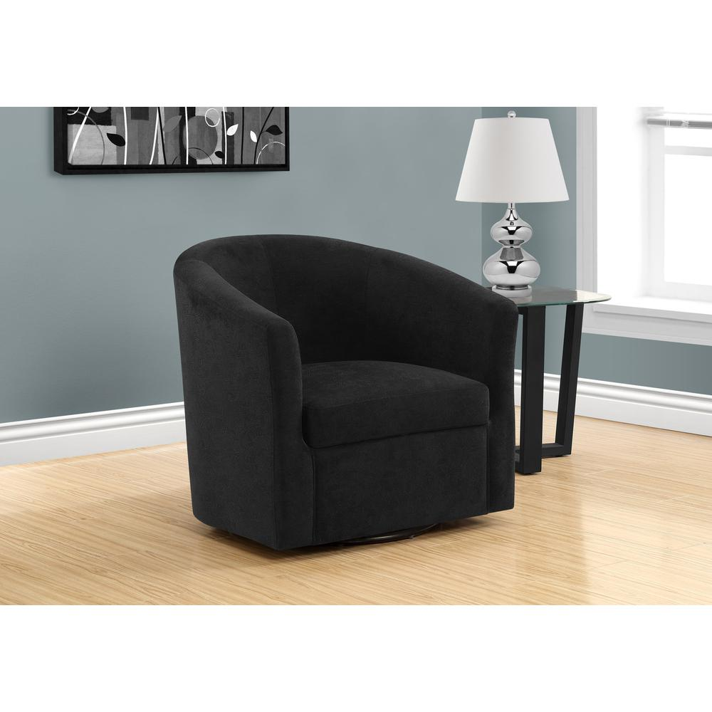 ACCENT CHAIR - SWIVEL / BLACK ABSTRACT VELVET. Picture 2